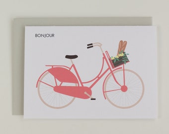 Bonjour - typical Dutch bike flowers illustrated greeting card