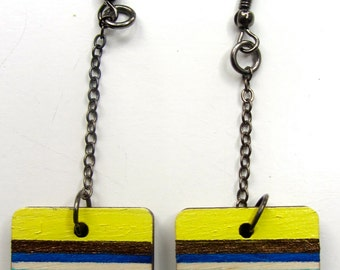 Hand painted Baltic birch plywood dangle earrings