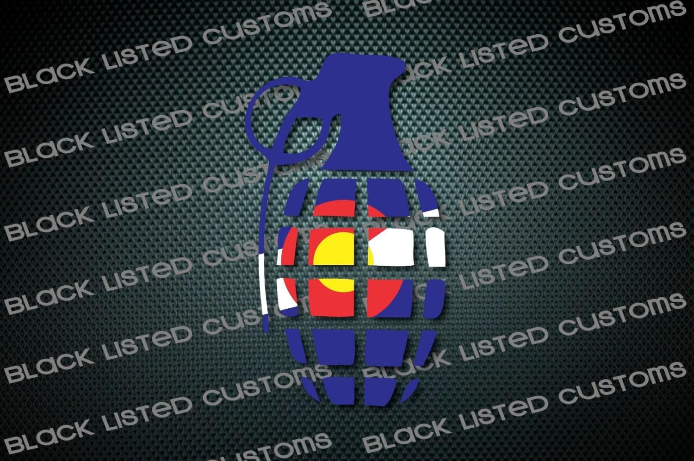 Colorado State Flag Grenade Snowboard Custom Vinyl Decal - Custom die cut vinyl stickers snowboard