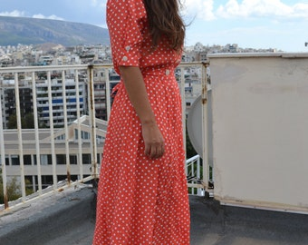 Seventies vintage polka dot dress
