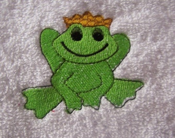 Personalised embroidered Frog Prince bath towel (100% cotton)