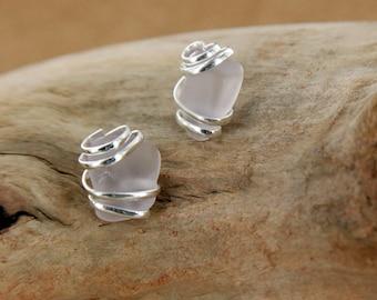 Violet Sea Glass Stud Earring