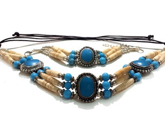 Handmade Native Traditional Tribal 3 Row Buffalo Bone Hairpipe Choker Necklace and Bracelet Set