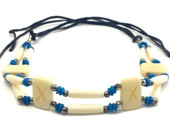 Handmade Traditional 2 Line Buffalo Bone Hairpipe Beads Tribal Choker Necklace