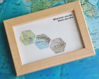 Gift for Him Traveler Map Art Custom Framed Geometric Hexagon Recycled Maps