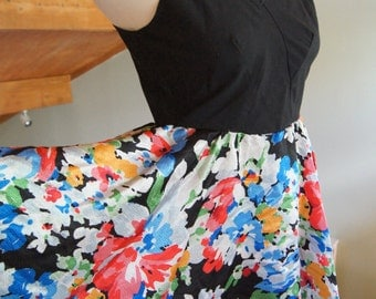 Sale Black and Floral Swing Dress