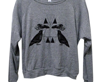 Raven Skull Raglan Sweatshirt - Geometric Ravens American Apparel SOFT vintage feel - Available in sizes S, M, L