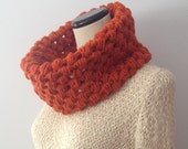 Rust Orange Bubble Cowl - Bubble Knit Crochet - Winter Wear - Unisex Scarf