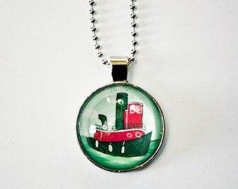 nautical jewelry / TUGBOAT NECKLACE, tugboat pendant, layering necklace summer jewelry, ideas for xmas gifts, gift from son to mom, tug boat