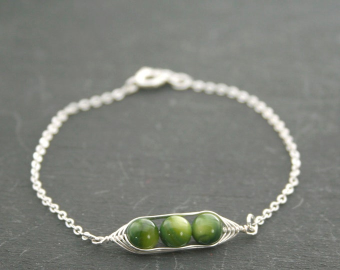 Featured listing image: Pea pod bracelet // Peas in a pod with green mother of pearl pea pod jewelry, gift for sister, or best friend // great gift for mom