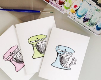 KitchenAid Mixer Card - bridal shower card - wedding shower card - house warming - CHOOSE YOUR COLOR