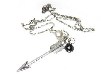 Arrow Necklace, Large Arrow Necklace, Arrow Pearl Necklace, Crystal Arrow Necklace