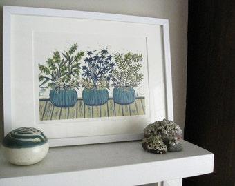 Reduction Linocut Print - The POTS on MY DECK - Gardener's Print 9x13 - Ready to Ship