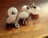Rose Quartz charms, gemestone charms,  wire wrapped beaded gemstone charm single charm