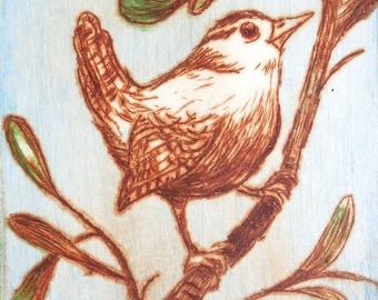 Wren - 4.5 x 5.75 inch drypoint ETCHING monoprint of bird