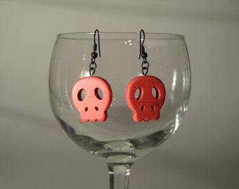 Pink Magnesite Stone Skull Earrings