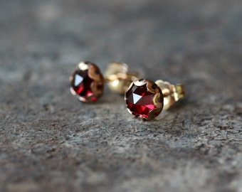 Garnet Studs, Rose Cut Garnet Earrings, 14k Gold Filled Post, Deep Red Color, January Birthstone, Faceted Gemstone, 6mm Size Gem