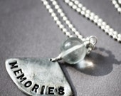 Memories Charm Necklace Stamped Word Sterling Chain Flourite