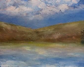 SALE-----Silent Bay, Original Painting, Landscape Painting, Lake Painting, Hills, Cove, Boating, Sailing,  Winjimir, Home, Office, Decor