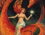 Dragon Goddess 11x14 Poster Print Art Nouveau Pagan Mythology Psychedelic Gypsy Witch Goddess Art