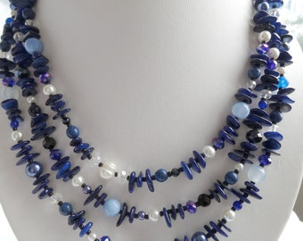 Triple Strand Blue Stone Statement Necklace