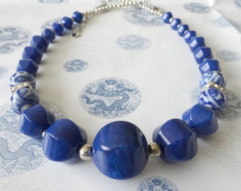 Chunky Cobalt Blue Nautical Statement Necklace