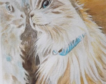 Custom Pet Portrait, Watercolor Painting of Your Pet, hand painted original art, from your photo, cat memorial artwork