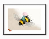 Nursery Decor  Art Print - Bumbelina  - illustration - A4 / A3 Fine Art Print - cat girl bumblebee ladybird bumble bee