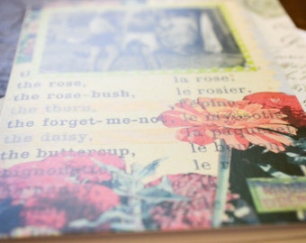 Collage Art . Blank Card . Mixed Media Illustration