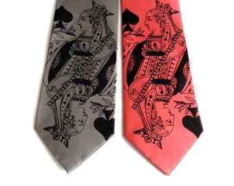 "Queen of Spades tie. Playing card silk necktie. ""Poker Face"" men's tie. Black screenprint."