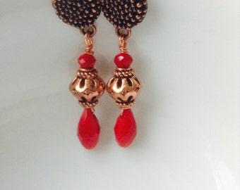 Red velvet copper earrings