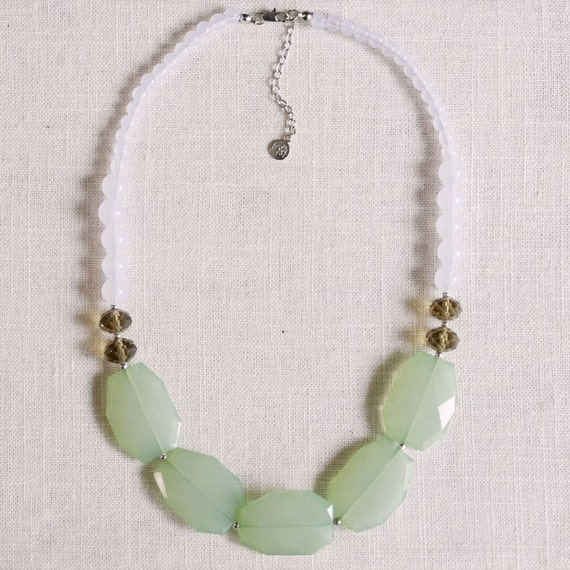 horizons . ocean mist // mint statement necklace . mint and grey . colorblock necklace . mint jewelry . mint bridal party necklace