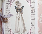 The Lady in Blue Notebook (journals, mini book, scrapbook, handmade)