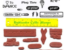 Highland Dance Unmounted Rubber Stamp Set 12 Precut Stamps Scrapbooking Cards