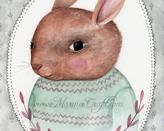 "MarmeeCraft bunny art print, ""R is for Rabbit"""