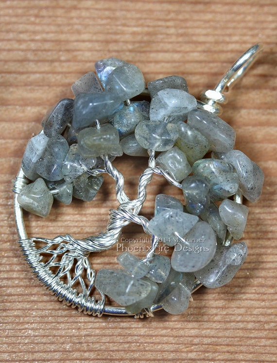 Labradorite Tree of Life Pendant Sterling Silver Wire Wrapped Grey Gray Iridescent Blue Fire Flashes Black Moonstone