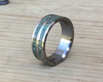 Titanium Ring, Moss Agate Ring, Wedding Ring, Mens Ring, Womens Ring, Custom Made Ring, Stone Ring, Engagement Ring, Moss Agate Ring