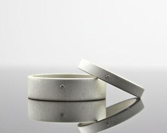 Matte Finish Diamond Ring Set, Sterling Silver, Wedding Band Set, Matching Wedding Set, Custom Engagement Rings, Men's or Women's, Modern