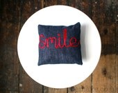Smile word cushion small embroidered pillow navy blue denim red ribbon lettering typography memake handmade home decor