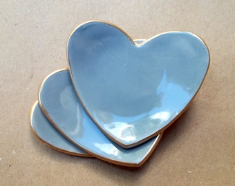 THREE itty bitty Slate GRAY  Heart Ring Dish