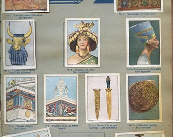 "French ""Ancient Civilization"" Stickers Page Artifacts from Children's Book 930s Stamps Labels ""Temoins de L'Antique Civilisation""   s34"