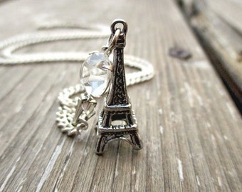 Eiffel Tower Necklace Pendant Summer Trend Collection Gifts for Her. Charm Necklace - PARIS
