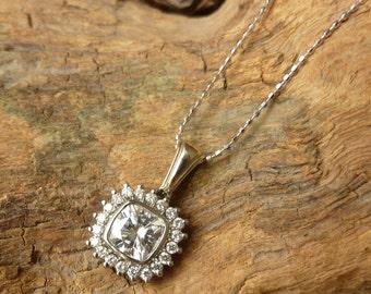 Antique Square Moissanite and Diamond Necklace