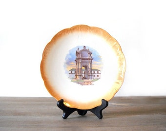 National China Plymouth Rock Plate, Thanksgiving Decor, Orange Lustre Collector Plate, Plymouth Mass Souvenir Dish