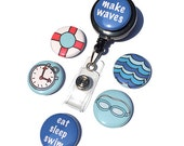 Swimming ID Badge Reel - Interchangeable Badge Holder for work, swimming coach, life guard, gym teacher, swimmer, fan, sports gift