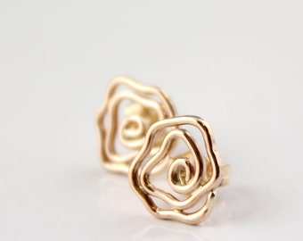 14k Gold Rose Post Earrings