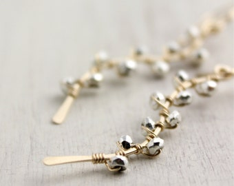 Forged Gold Vine with Silver Pyrite Earrings
