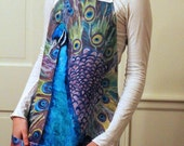 Kitchen aprons for women with peacock fabric | gifts for cooks