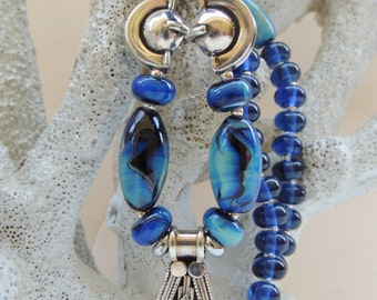 SAPPHIRE ELEGANCE Handmade Lampwork Bead Necklace with FREE Earrings