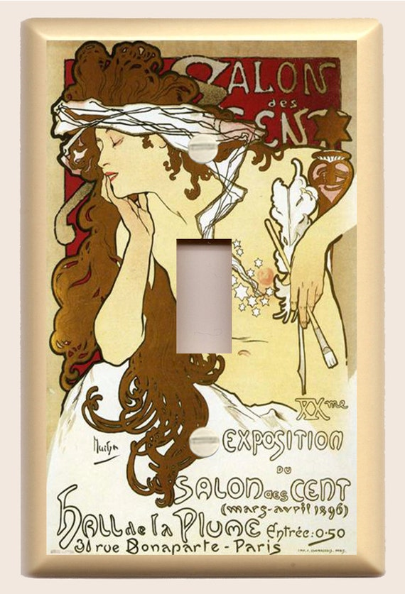 """Alphonse Mucha """"Brown, and White Salon"""" Art Nouveau - Single Light Switch Plate"""